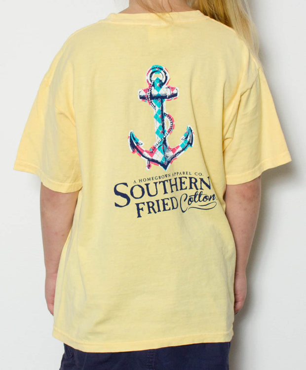Southern Fried Cotton - Youth Argyle Anchor T-Shirt - Back