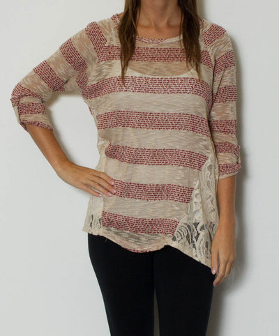 BluPepper - 3/4 Sleeve Striped Knit Top with Lace