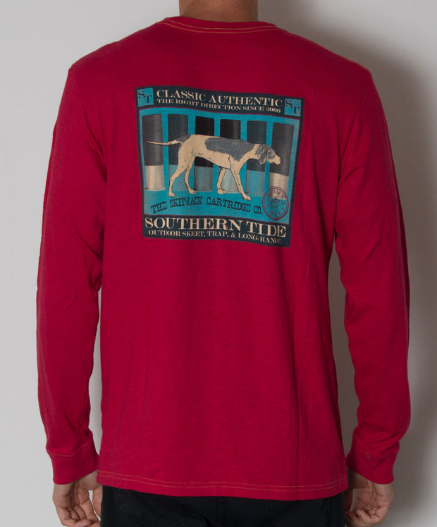 Southern Tide - Skipjack Cartirdge Co. Long Sleeve Slub T-Shirt 12 Gauge Red Back