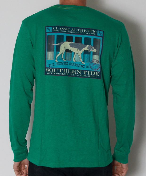 Southern Tide - Skipjack Cartirdge Co. Long Sleeve Slub T-Shirt Double Ought Green Back