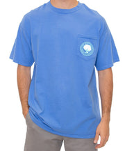 Southern Shirt Co - Palm Print Logo Pocket Tee - Spinnaker Front