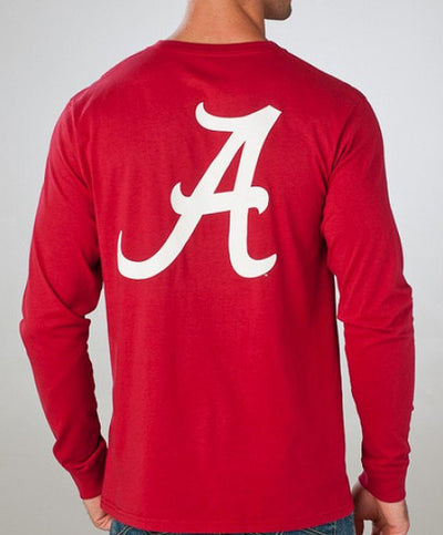 Southern Tide - Long Sleeve Collegiate Flag Pocket Tee: AL Back