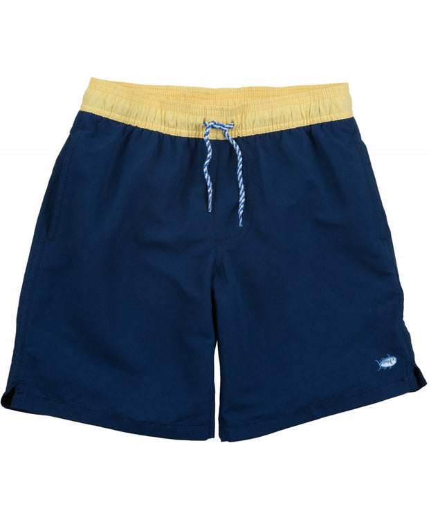 Southern Tide - Boys Contrast Pocket Water Short - Yacht Blue Front