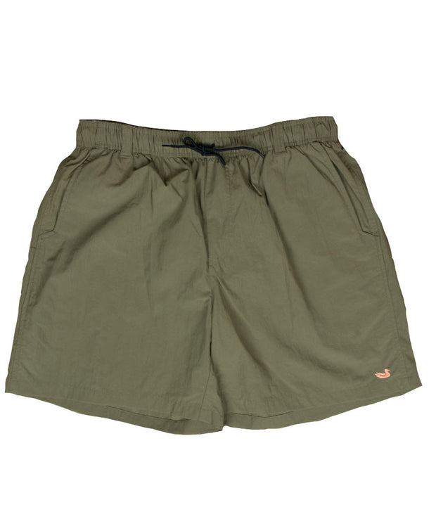 Southern Marsh - The Dockside Swim Trunk - Stonewall Olive w/ Peach Duck