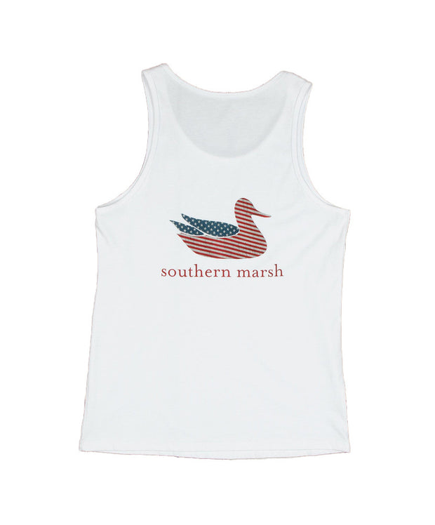 Southern Marsh - Authentic Flag Tank Top - White