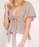 She + Sky - Short Flare Sleeve Striped Top With Front Tie