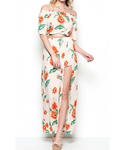 Illa Illa - Floral Print Crop Top and Maxi Skirt Set