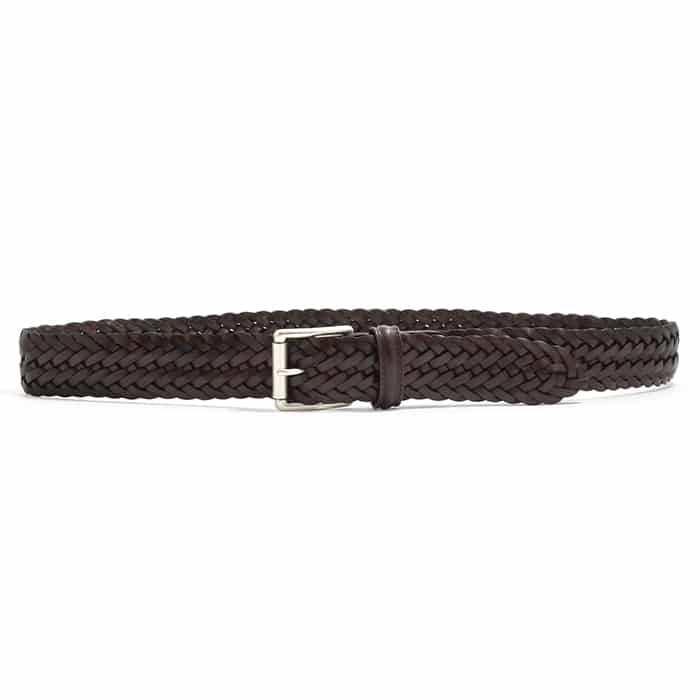 Andersons A1097 Braided Leather Belt Dark Brown