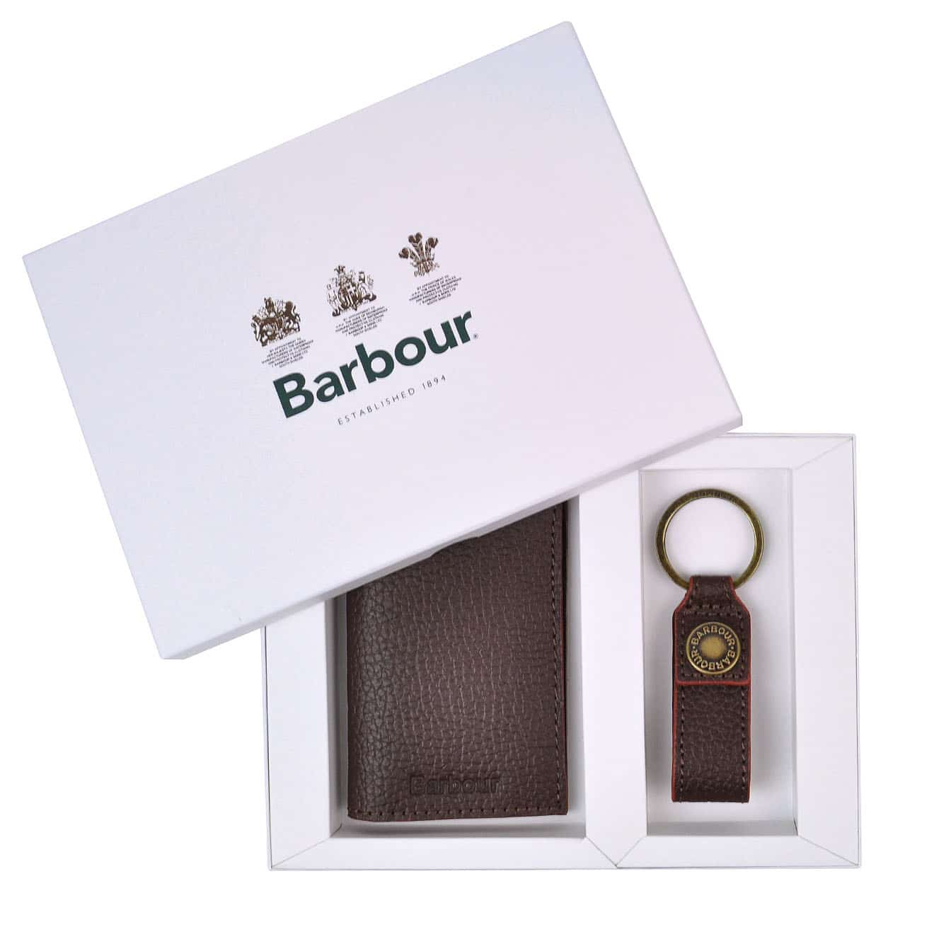 Barbour Grain Leather Wallet and Keyring Gift Set