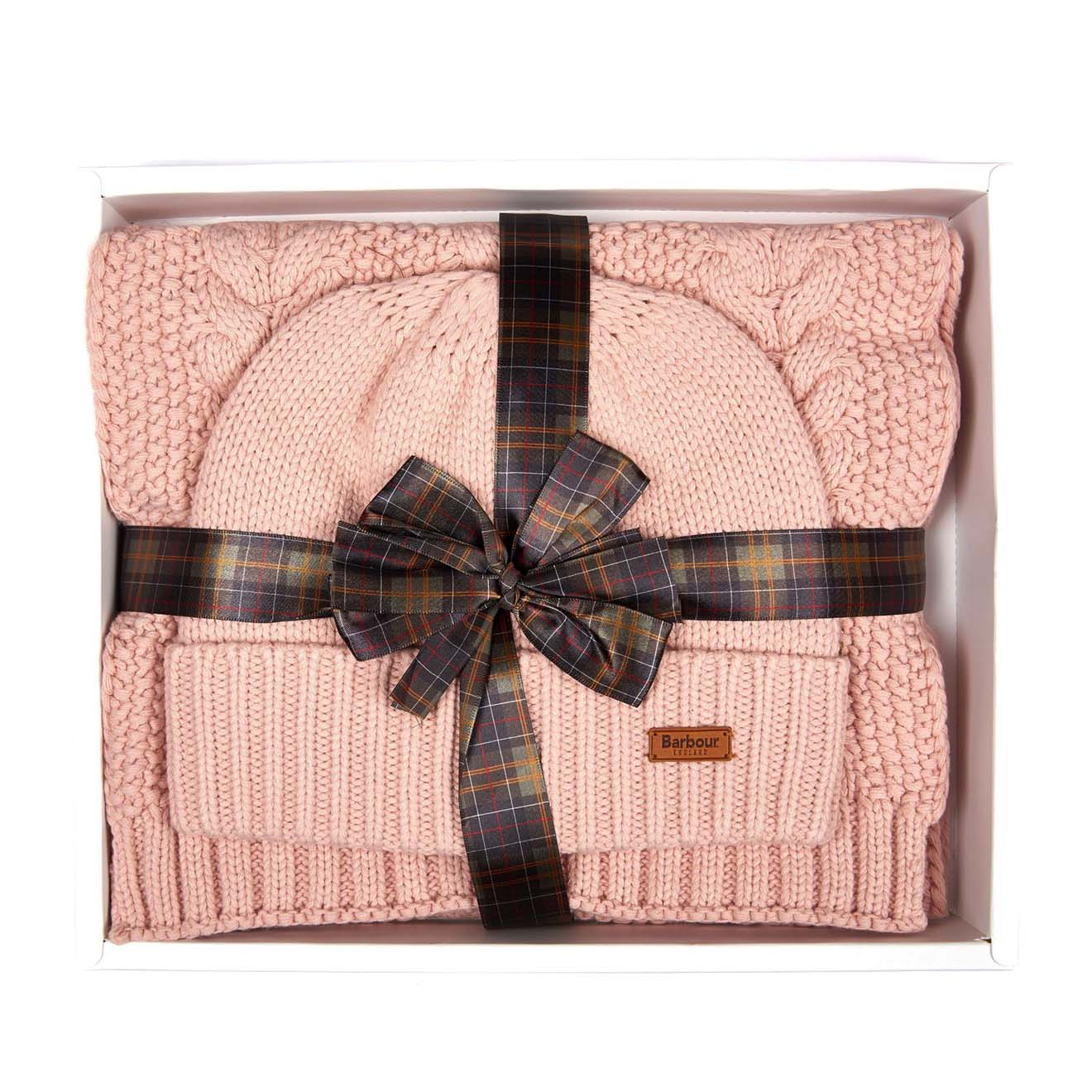 Barbour Womens Cable Hat / Scarf Set Pink