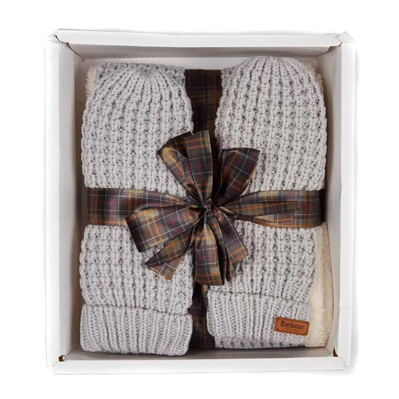 Barbour Womens Fleece Lined Snood / Mitten Set Ice White