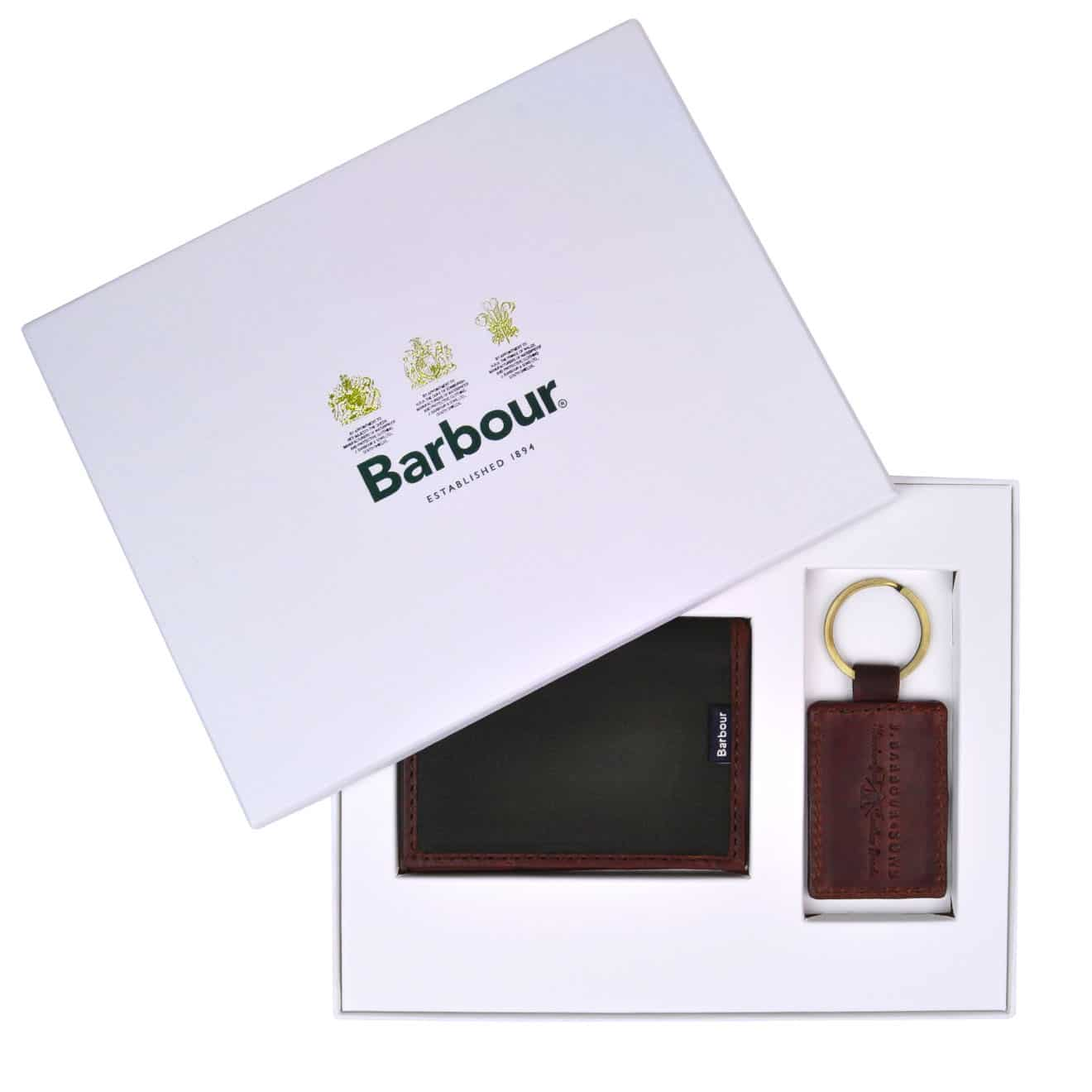 Barbour Drywax Card Holder and Keyring Gift Set - Parasol Store