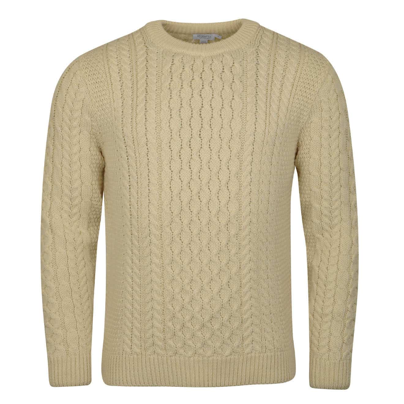 Sunspel Cable Crew Neck Knit Archive White