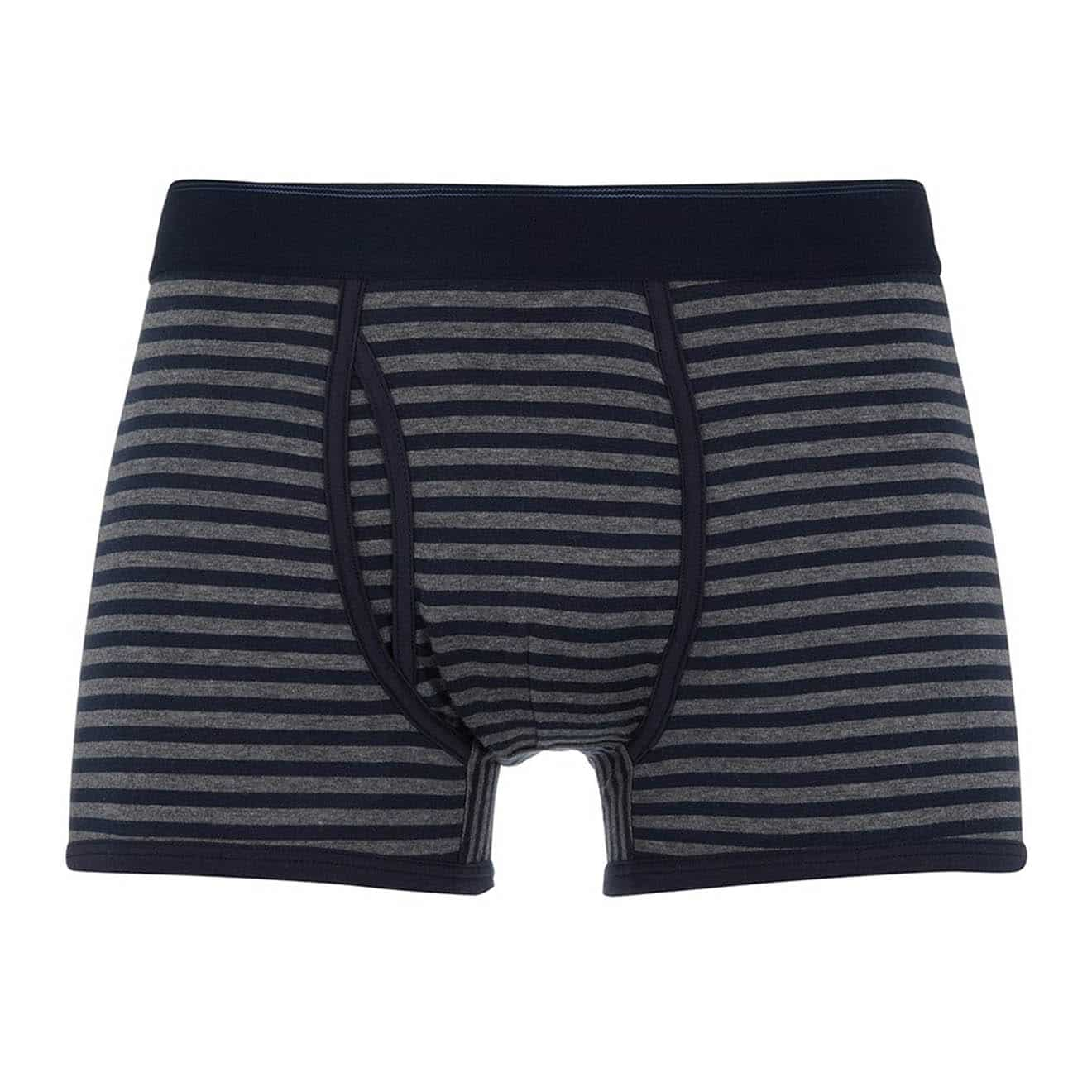 Sunspel Superfine Cotton Striped Trunks Charcoal Melange / Navy