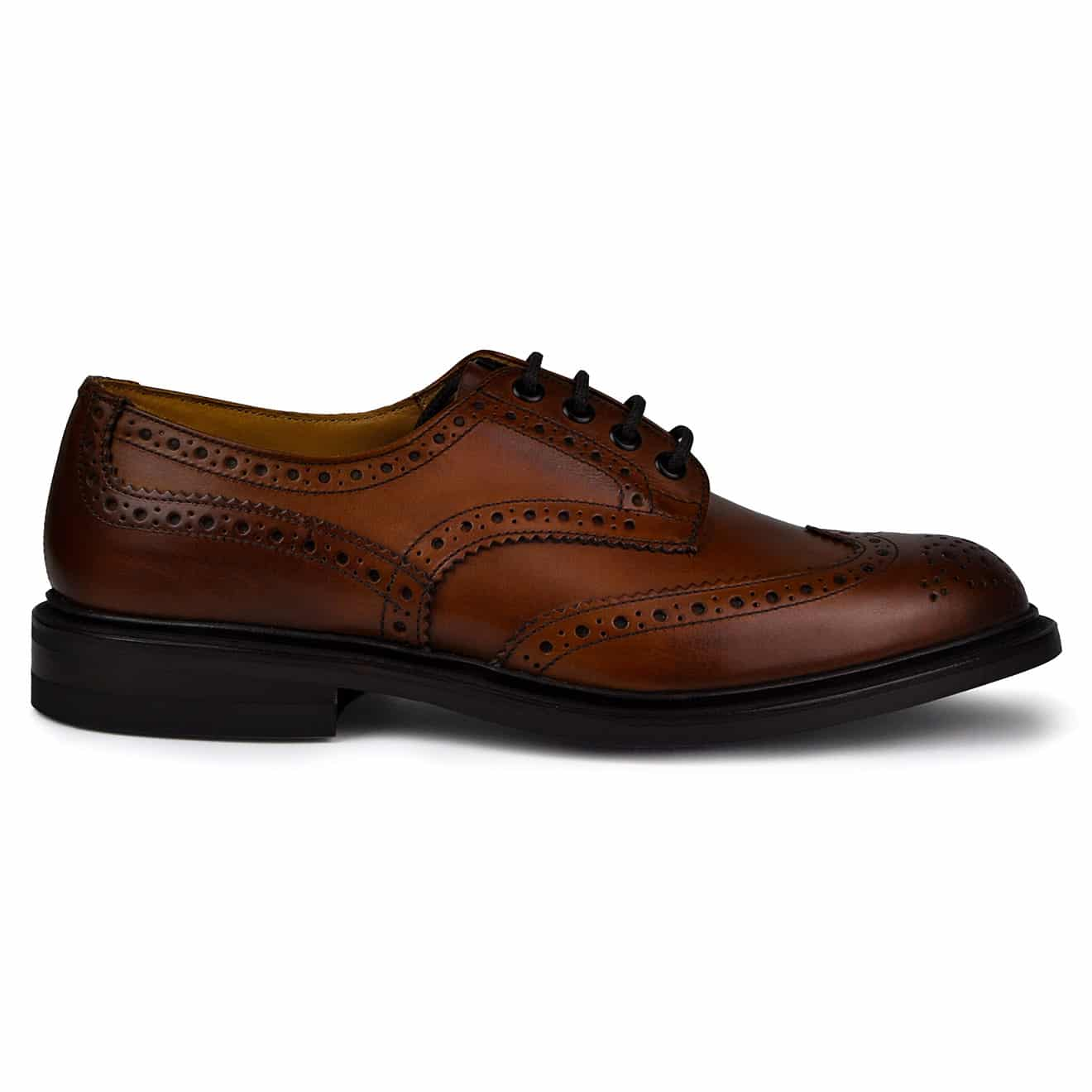 Trickers Bourton Revival Brogue Shoe Derby Sole Beechnut Burnished