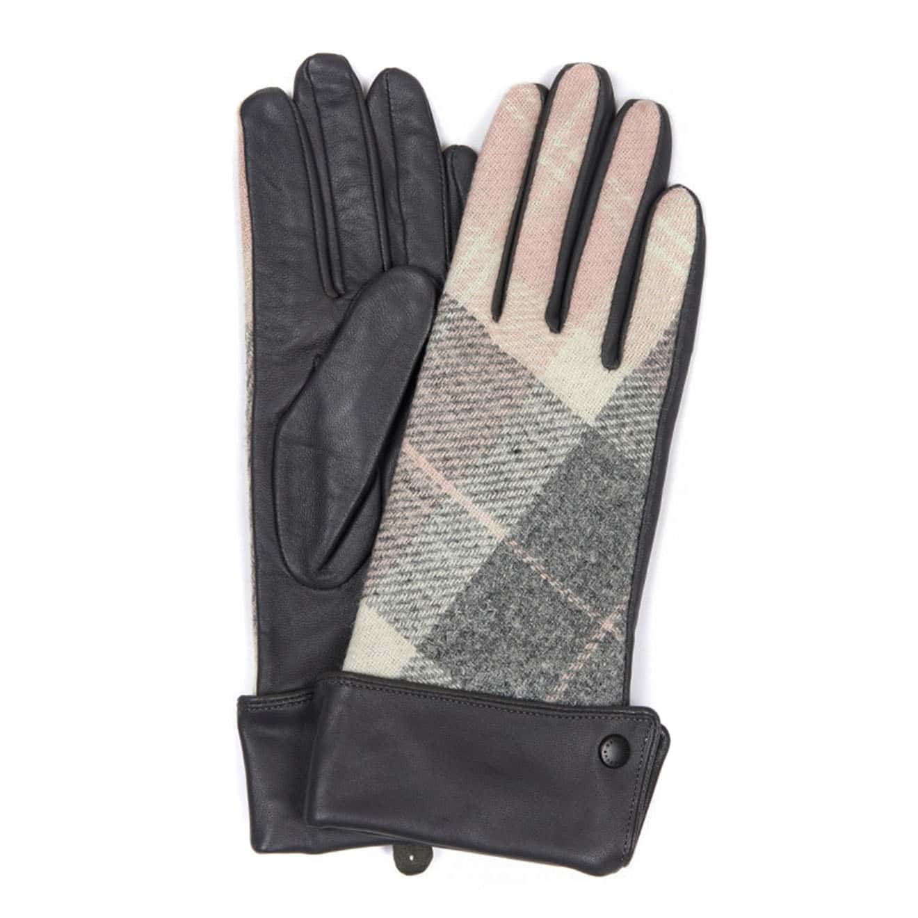 barbour Womens Stowe Gaunt Gloves Pink Grey