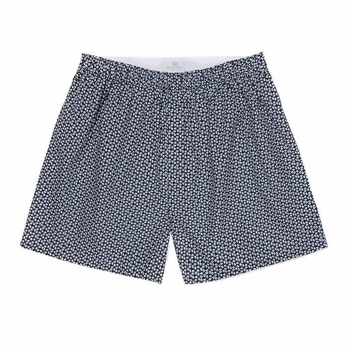 Sunspel Seasonal Printed Boxer Shorts Leaf Geo Print Navy