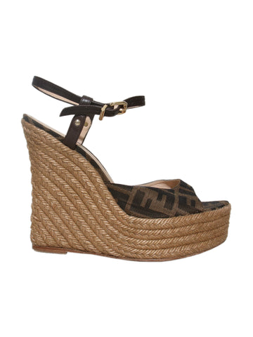 Fendi Monogram Wedge Sandals