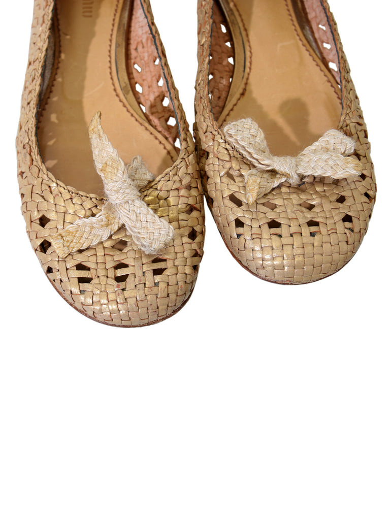 Miu Miu Weaved Leather Ballet Flats