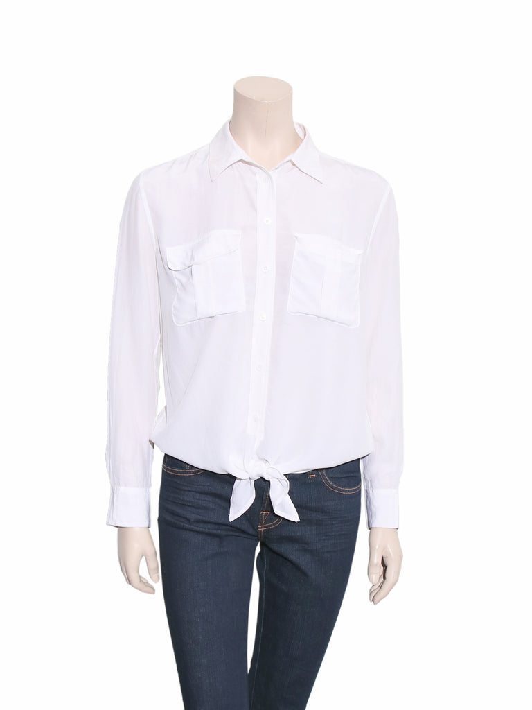 Equipment Silk Front-Tie Blouse