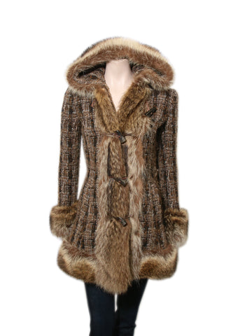 Dolce & Gabbana Fur-Accented Hooded Tweed Coat