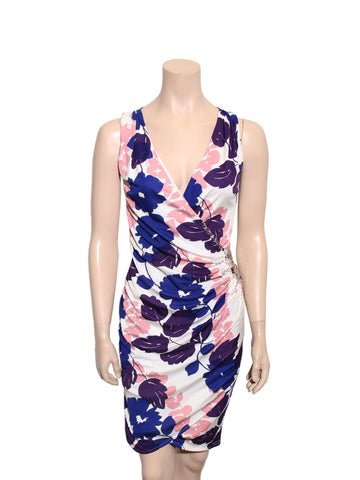 Blumarine Floral Wrap-Front Silk Dress