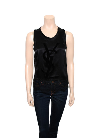 YSL Silk and Lace Logo Top