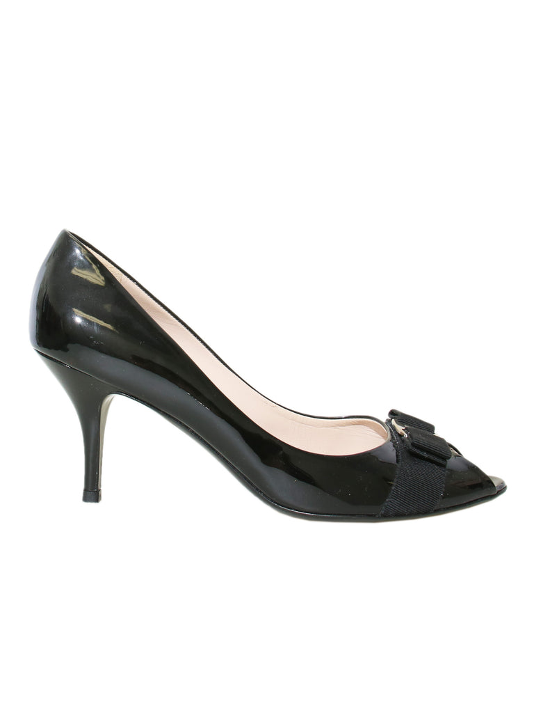 Salvatore Patent Leather Peep-Toe Pumps