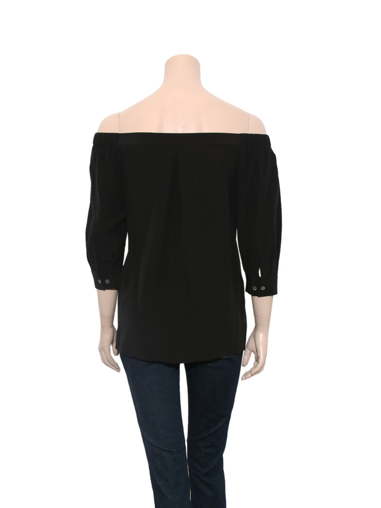 Theory Off-The-Shoulder Silk Top