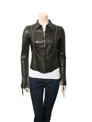 Roberto Cavalli Leather Jacket with Grommets