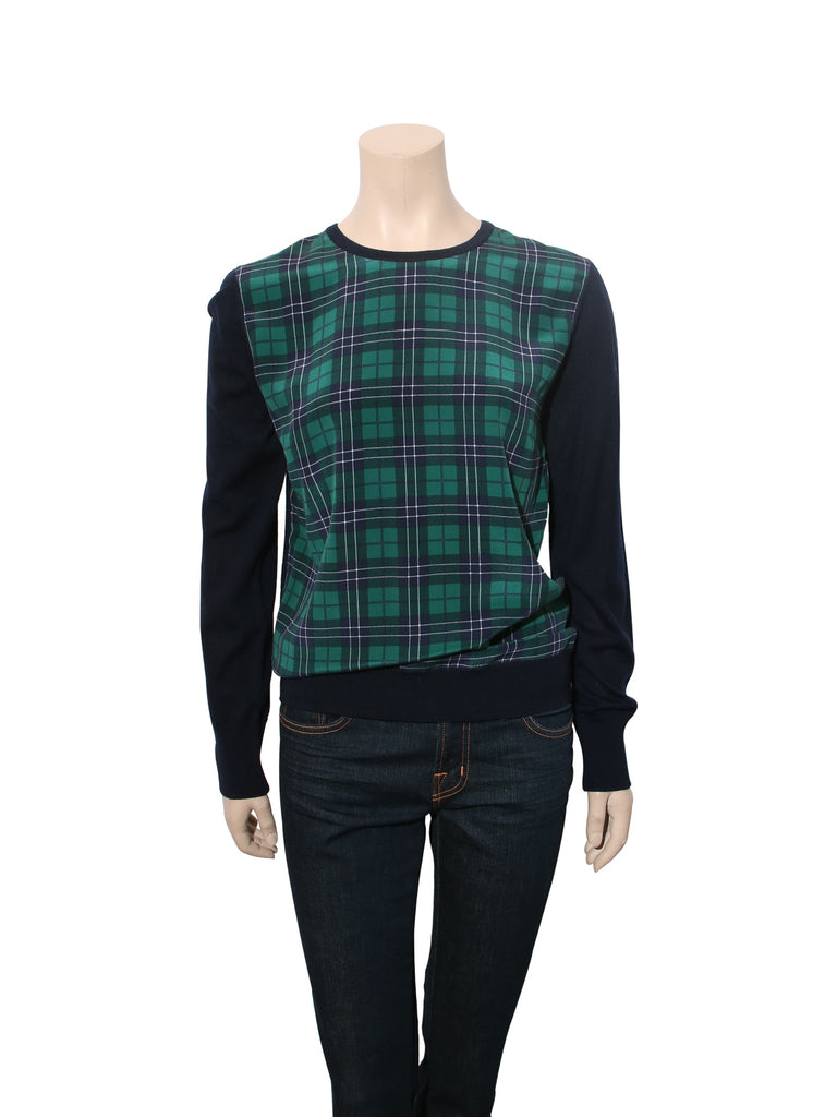 Equipment Silk and Wool Plaid Top