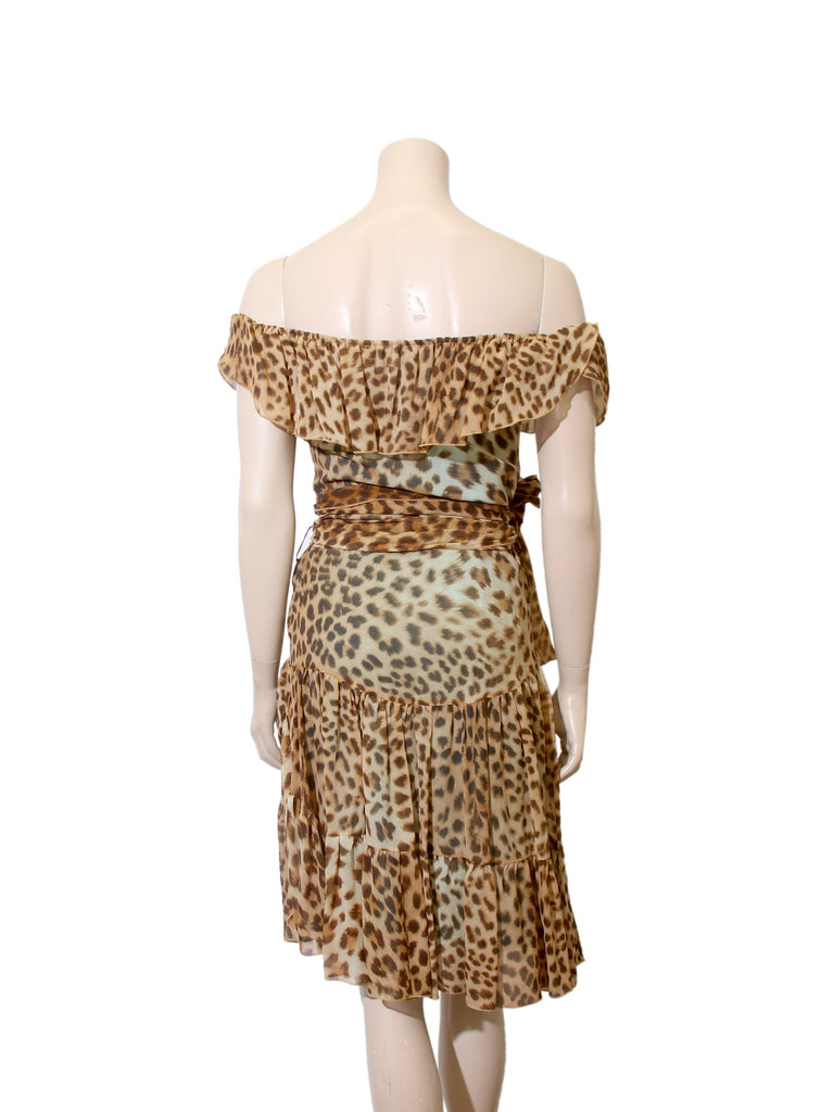 Blumarine Off-the-Shoulder Silk Leopard Dress