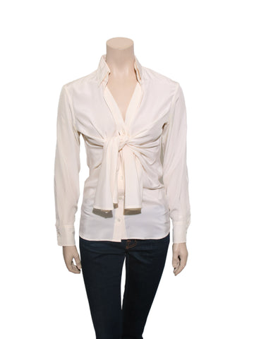 Yves Saint Laurent Vintage Silk Front-Tie Blouse