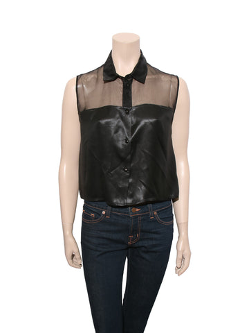 Sandro Cropped Sleeveless Blouse