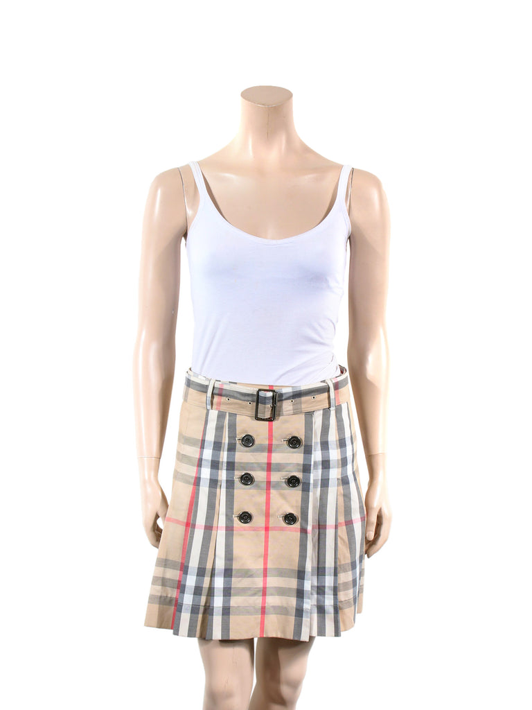 Burberry Check Pleated Cotton Skirt