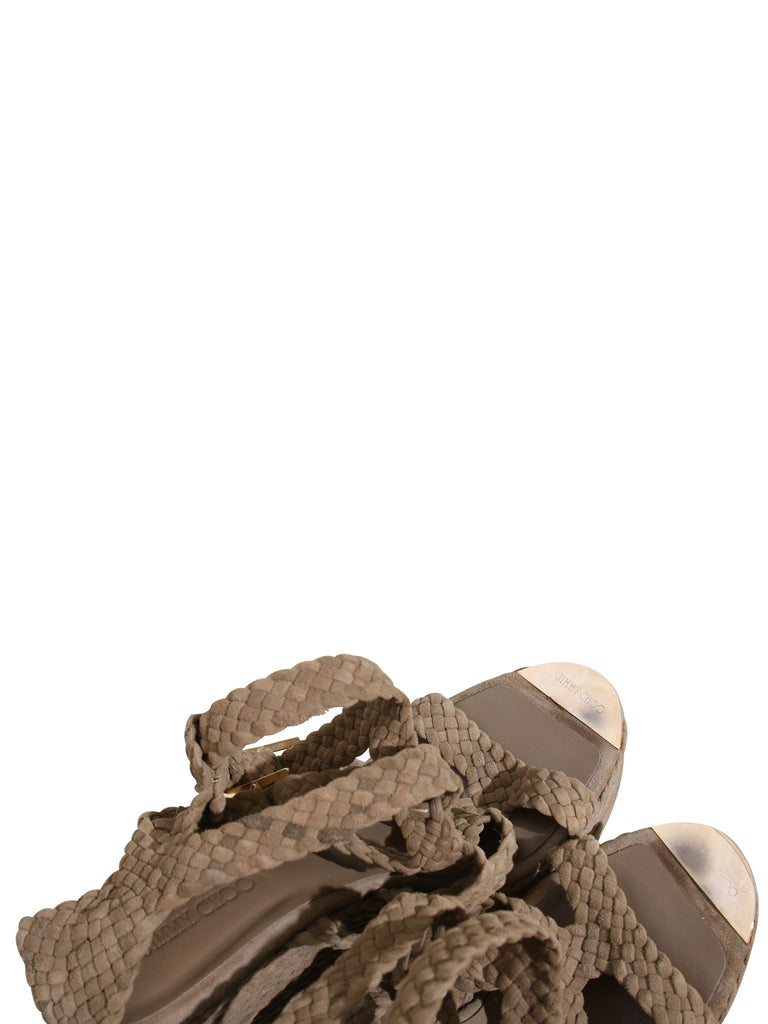 Jimmy Choo Suede Braided Wedge Sandals