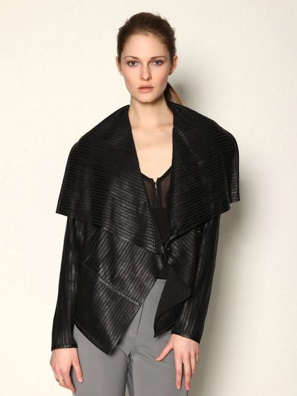 Pink Tartan Leather Draped Jacket