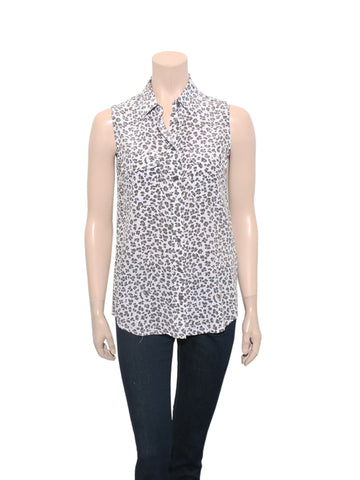 Equipment Sleeveless Leopard Silk Blouse