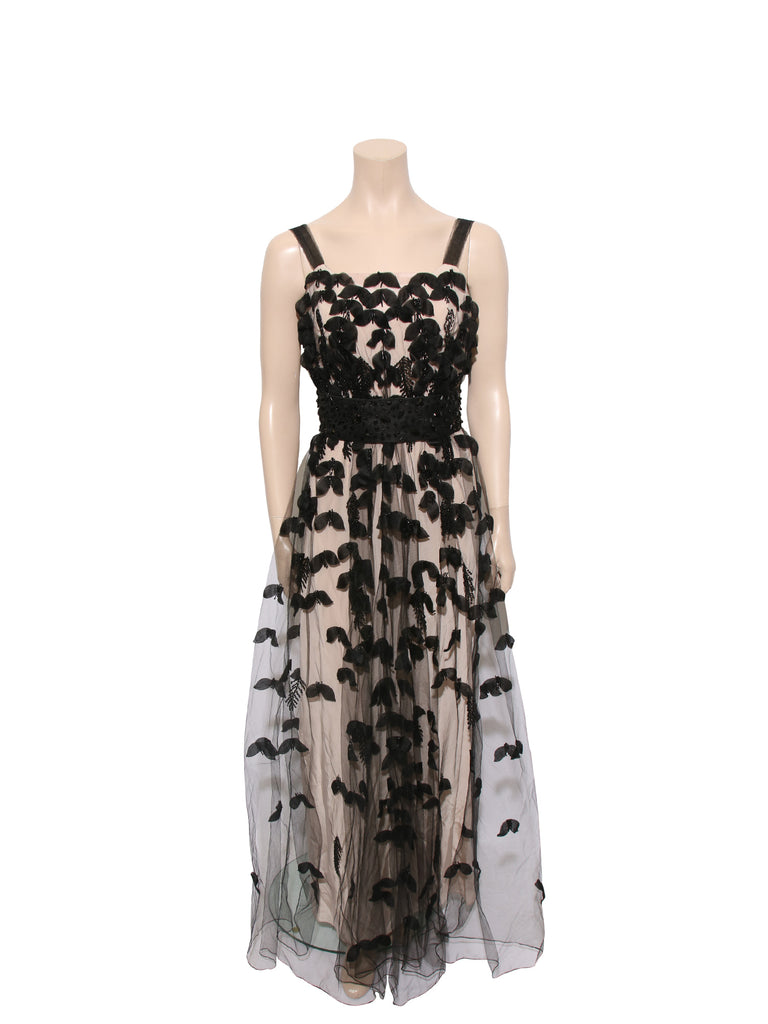 Badgley Mischka Floral Appliqué Tulle Gown