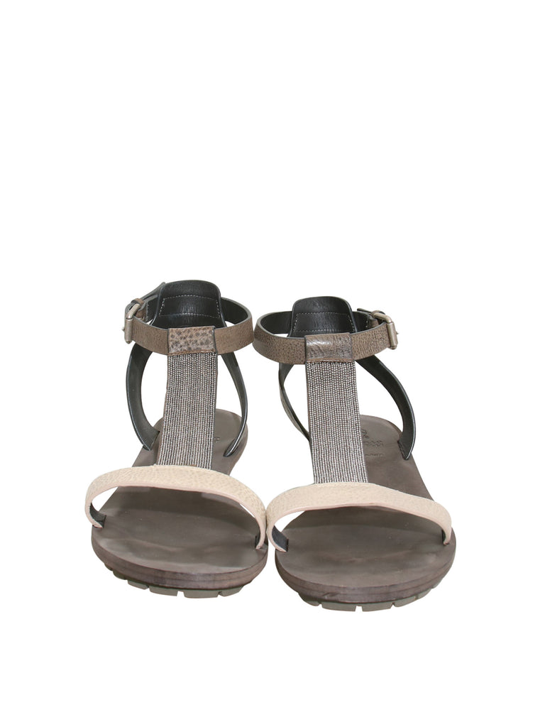 Brunello Cucinelli Monili-Accented Leather Flat Sandals