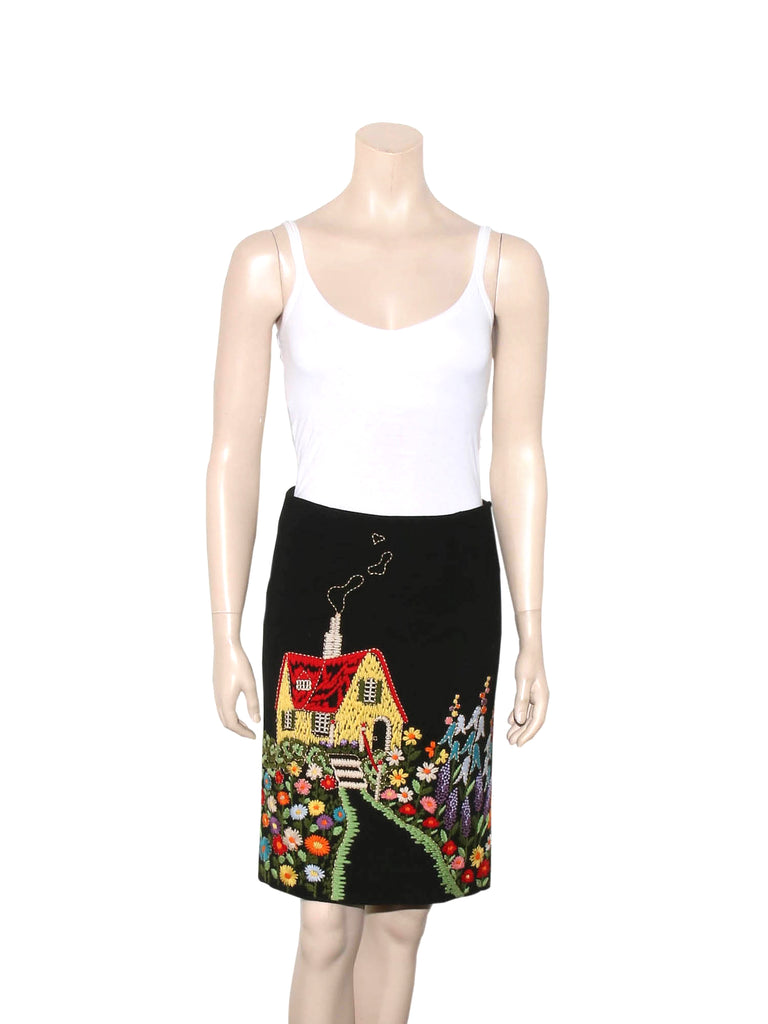 Moschino Embroidered Wool Skirt