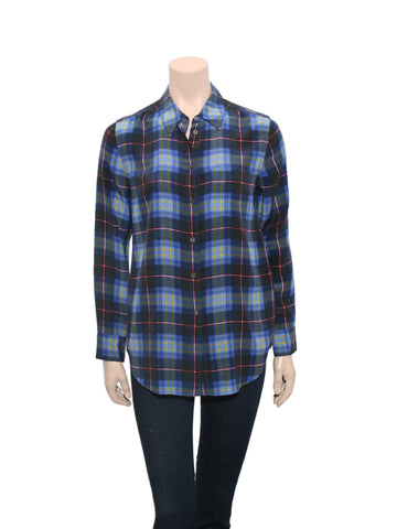 Equipment Plaid Silk Blouse
