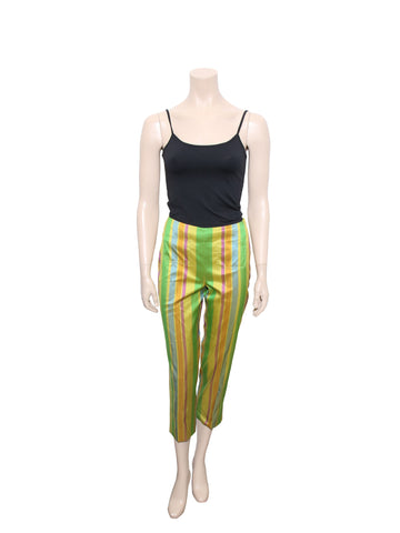 Christian Dior Cropped Silk Stripe Pants
