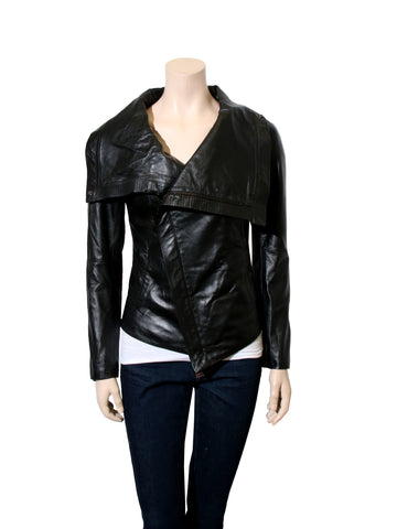 Draped Leather Jacket