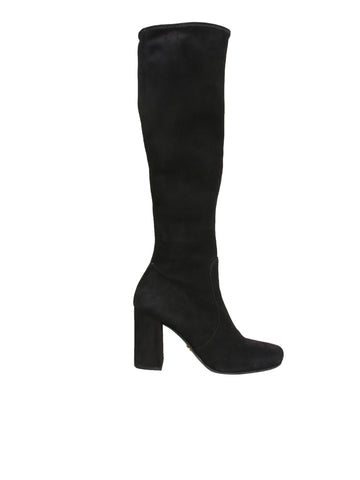 Prada Stretch Suede Knee-High Boots