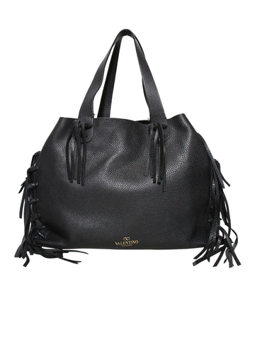 Valentino C-Rockee Fringe Leather Tote Bag