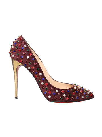 Christian Louboutin Follies Cabo 100 Embellished Suede Pumps