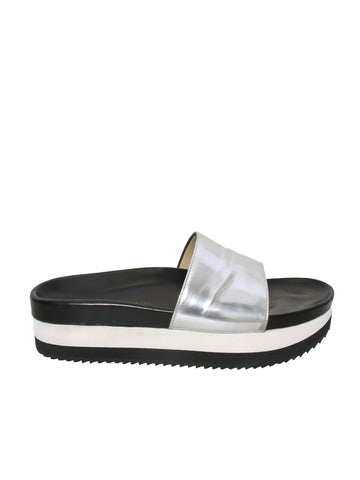 Barbara Bui Metallic Leather Slides