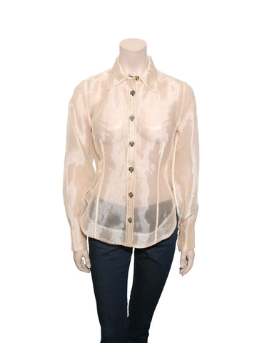 Ganni Sheer Button-up Top