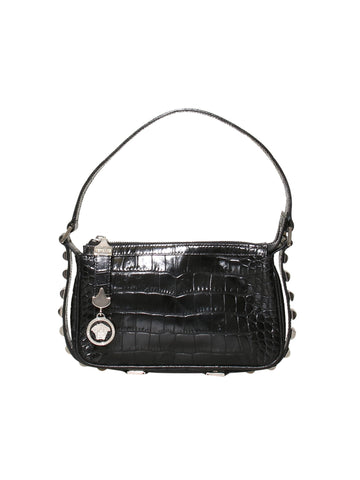 Versace Vintage Embossed Leather Shoulder Bag